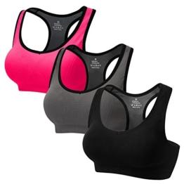 CARETOO Sport BHS für Frauen Racerback Medium High Impact Sport Fitness Yoga 3 Packs, Schwarz + Grau + Rose, S Fit 65B 65C 65D 70BC70D 75BC - 1