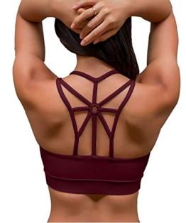 YIANNA Damen Sport BH Ohne Bügel Bequem Bustier mit Gepolstert Cup Atmungsaktiv Yoga Bra Top,UK-YA-BRA139-Red-XXL - 1